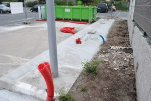 Chantier GREEN SPOT 11 Carrefour Market CAUDERAN près de Bordeaux site BLUE2BGREEN