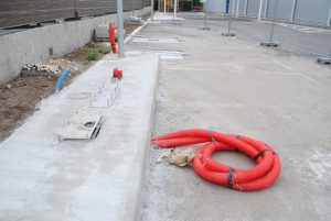 Chantier GREEN SPOT 12 Carrefour Market CAUDERAN près de Bordeaux site BLUE2BGREEN