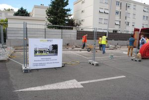 Chantier GREEN SPOT 3 Carrefour Market CAUDERAN près de Bordeaux site BLUE2BGREEN